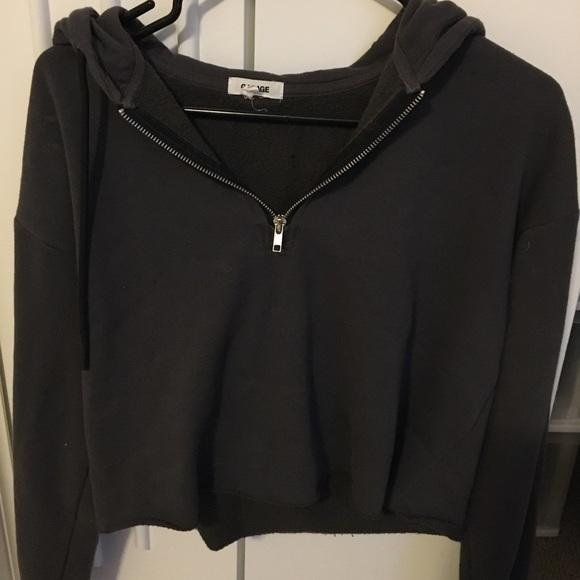 Dark grey 3/4 zip cropped hoodie